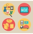 Internet shopping concept flat design icons vector image vector image