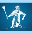 irish hurley sport group hurling sport players vector image