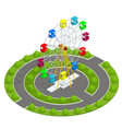 isometric amusement park with ferris wheel family vector image