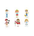 kids different professions set sailor clown vector image vector image