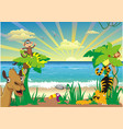 landscape-african animals and palm trees on the vector image vector image