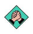 logo handshake flat outline style solidarity vector image