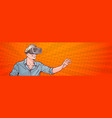 man wear modern 3d glasses virtual reality concept vector image