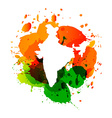 map of india with colorful ink splashes vector image vector image