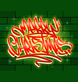 merry christmas graffiti style lettering card vector image vector image