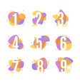 numbers with abstract memphis style element set vector image