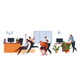 office workers having fun at break pushing chairs vector image