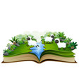 open book with group of sheep playing on the river vector image vector image