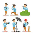 photographer cartoon character set vector image vector image