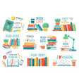 reading books stack library books with hand vector image