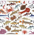 seafood fish pattern with crab salmon octopus vector image vector image