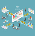 seo link building flat isometric concept vector image