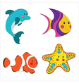set cartoon sea creatures vector image
