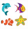 Set of cartoon sea creatures vector image vector image
