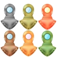 Set of Colorful Old Metal Diving Helmets vector image vector image