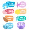 set summer labels logos elements for summer vector image