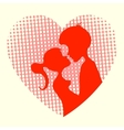 Silhouette of the heart boys and girls vector image