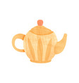 small orange teapot with handle spout and lid vector image vector image