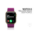 smart watch with deep purple bracelet realistic vector image vector image