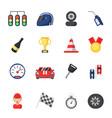 sport symbols racing car motor track and vector image