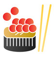sushi with fish caviar flat icon asian food can vector image vector image