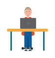 teenager sitting chair at table in front of laptop vector image
