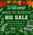 welcome back to school sale promotion poster vector image vector image