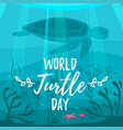 world turtle day greeting card vector image