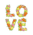 word love from flowers vector image