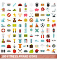 100 fitness award icons set flat style vector image vector image