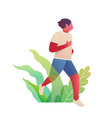 active sportive man running in nature fitness vector image