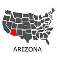 arizona state on usa map vector image vector image