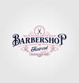 barbershop logo design vintage lettering on dark vector image vector image