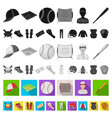 baseball and attributes flat icons in set vector image vector image
