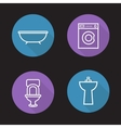 Bathroom flat linear icons set vector image