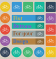 bicycle icon sign Set of twenty colored flat round vector image