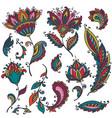 big set of colorful henna floral elements vector image vector image