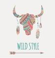 Bohemian style Bull Skull poster vector image vector image