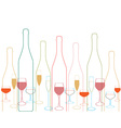 Bottles and glass vector image vector image