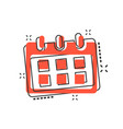 cartoon calendar icon in comic style reminder vector image vector image
