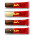 Chocolate bar in package set vector image