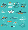 christmas and new year vintage style signs vector image