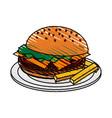 color crayon stripe cartoon hamburger in dish with vector image vector image
