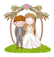 couple marriage cute cartoon vector image vector image