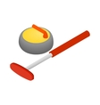 Curling icon isometric 3d style vector image