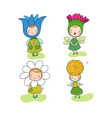 cute cartoon flower fairies forest gnomes vector image vector image