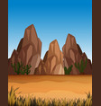 desert scene with mountains and field vector image vector image