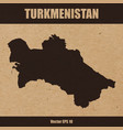 detailed map of turkmenistan on craft paper vector image