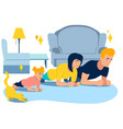 exercise plank sports family and animals in vector image