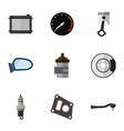 flat icon component set of spare parts gasket vector image vector image